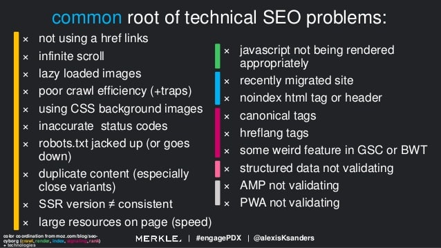 top technical seo issues stem from these areas